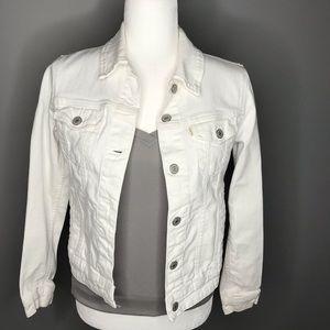 Levi's White Denim Trucker Jacket Size Small